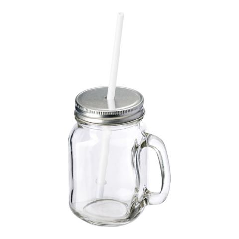 Glass Mason Drinking Jar With Handle