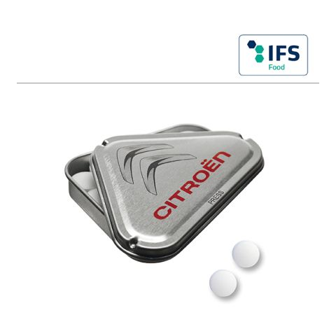 Triangle CLICK CLACK tin with peppermint pastilles, 9mm