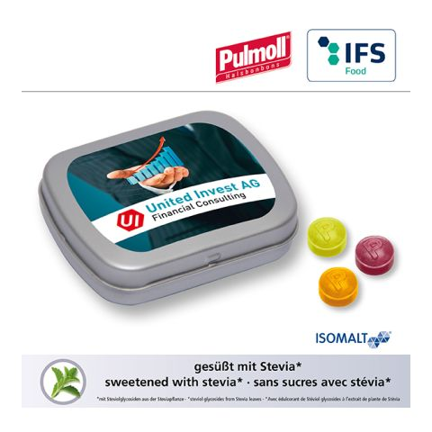 MINI tin with hinged lid with Pulmoll throat candies