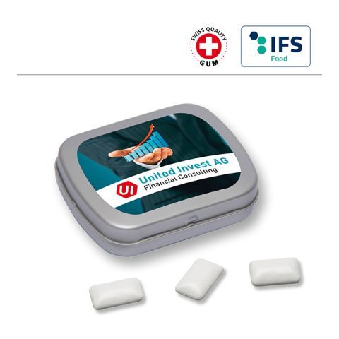 MINI tin with hinged lid with chewing gum