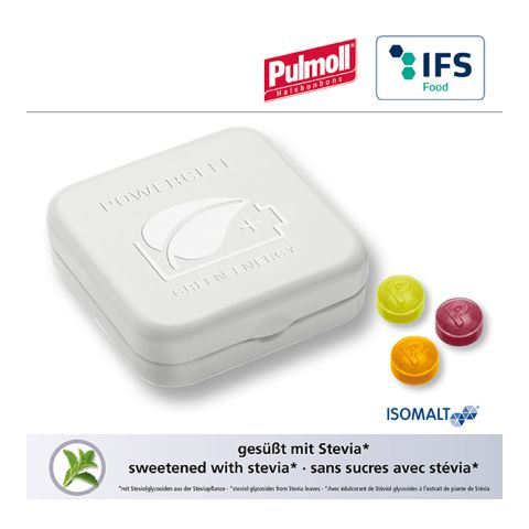 Quadro tin with embossed lid with Pulmoll throat candies
