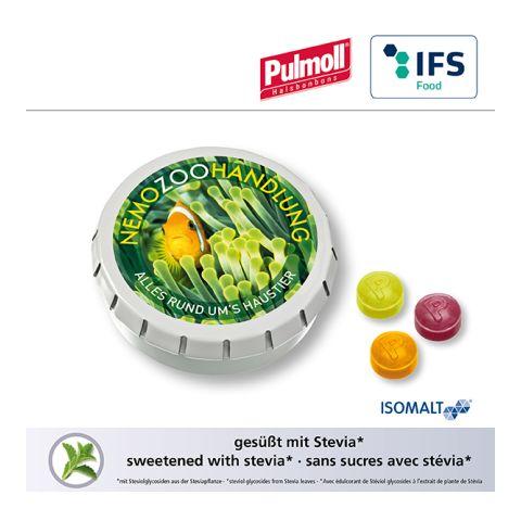 SUPER MINI CLICK CLACK tin with Pulmoll throat candies