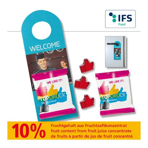 Promo Door-Tag with fruit gum bag, 10 g